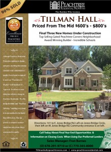 90% Sold at Tillman Hall Gated Neighborhood in Peachtree Corners