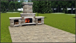 Outdoor living_Fireplace Render